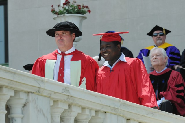 a photo of Prof. McAlear as Marshal of the Faculty for Wesleyan Commencement May 27, 2012
